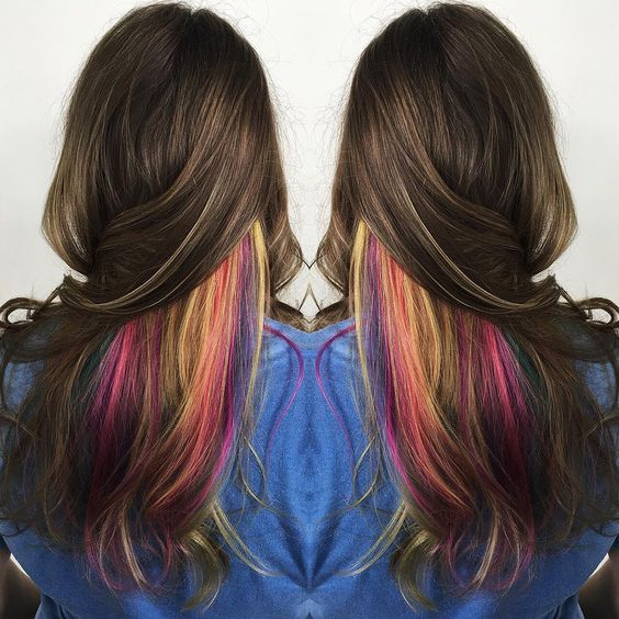 35 gorgeous peekaboo highlights to enhance your hair part 3 these peekaboo highlights offer up a way to get an entire rainbow in your hair without having it be on display at all times this style of highlights work solutioingenieria Image collections