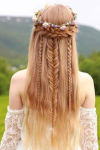 romantic bohemian wedding hair