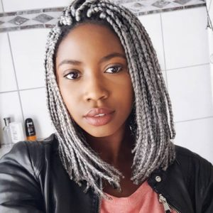 silver box braids lob