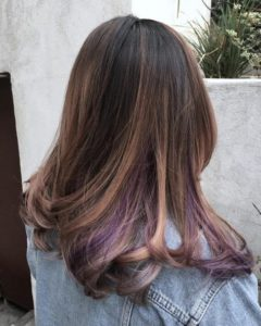 soft balayage with lilac peekaboos
