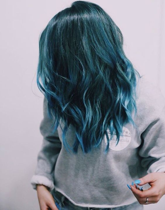 A Base Color Made Up Of Dark And Stormy Shade Teal Gets Touch Lightness With Lighter Blue Lied To The Very Tips Hair