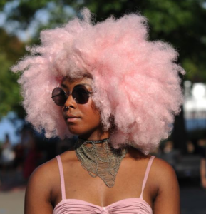 cotton candy pink afro