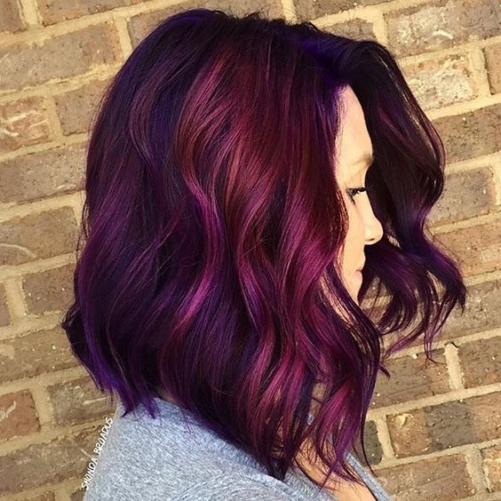 Mix Dark Purple With A Vibrant Magenta Shade Around The Face To Create Maximum Impact Hair Color