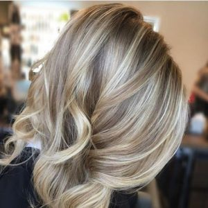 sandy blonde with allover highlights