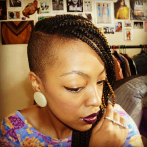 shaved sides box braids on short hair