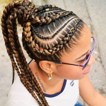 Goddess braids with highlights