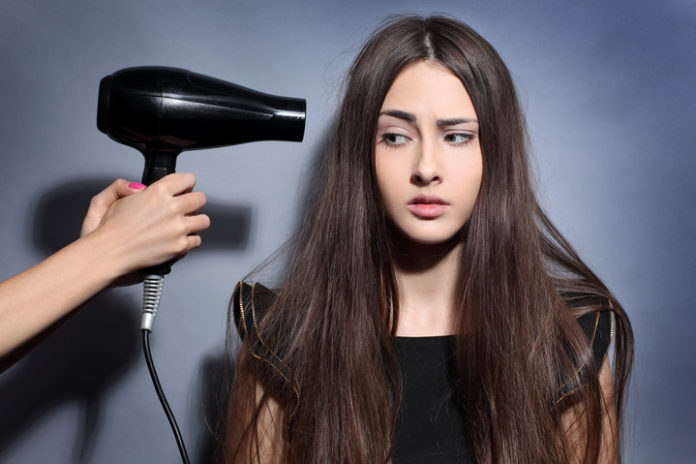 blow dry frizzy hair less