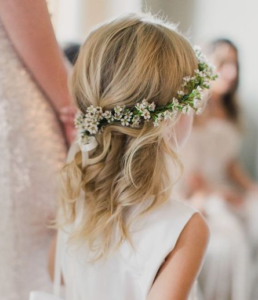 curls with flower wreath