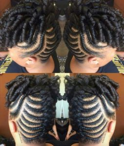 curly updo with fishbone braids