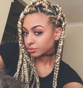 dimensional blonde jumbo braids