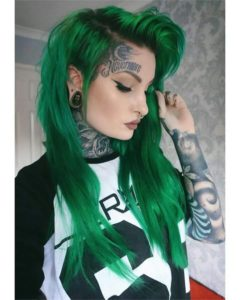 emerald green long hairstyle