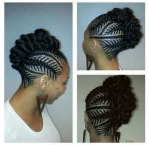 fishbone braid mohawk bun