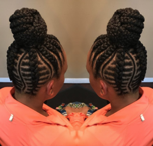 fishbone braids high bun