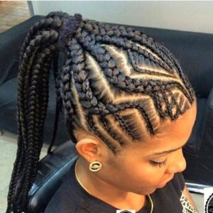 fishbone braids high ponytail