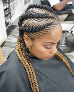 fishbone braids with ombre weave