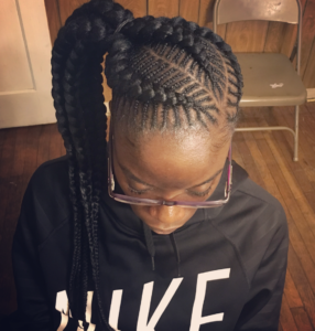 fishbone braids with side ponytail