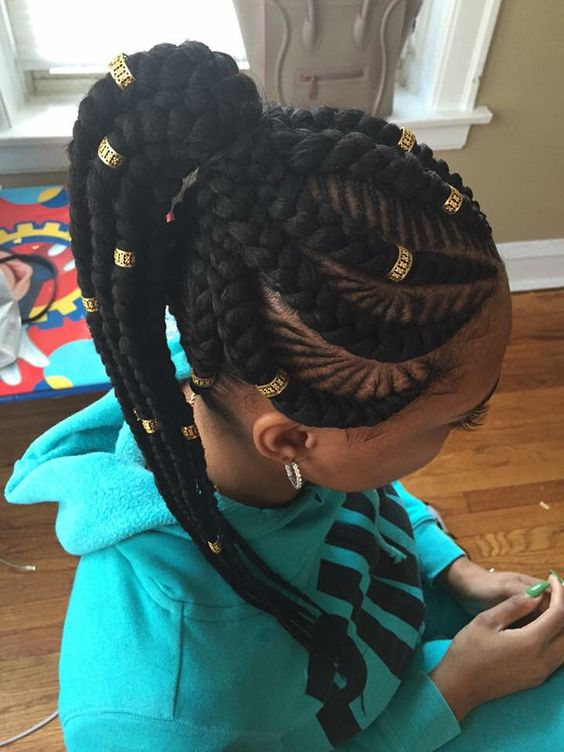 9Fishbone Braids With Weave High Ponytail