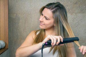 flat ironing hair