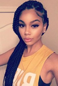 jumbo box braid side pony