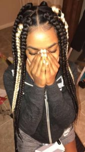 jumbo braids with blonde accent