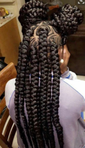 jumbo braids with mini corn rows