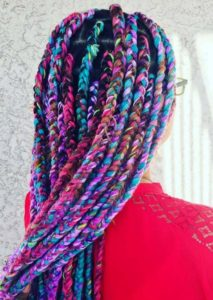 jumbo rainbow yarn braids