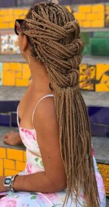 long blonde Box braids