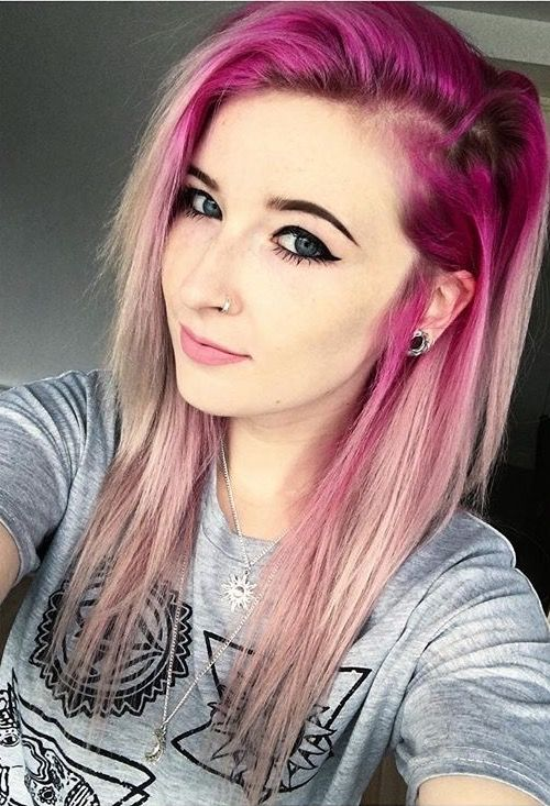 Light Pink Hair Ombre Dark Roots
