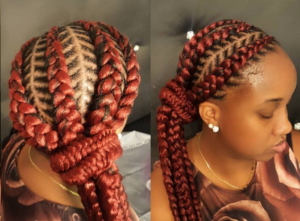 red fishbone braids side ponytail