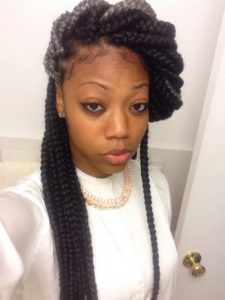 side wrapped jumbo box braids