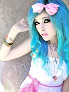 long vibrant blue hairstyle