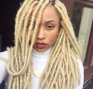 blonde faux locs with marley hair