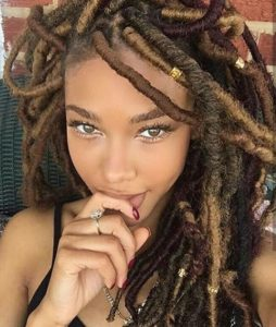layered brown faux locs