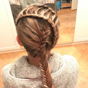 Wrap around ladder braid with fishtail