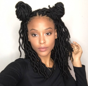 short faux locs double buns