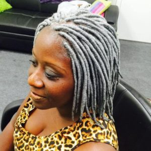 short grey yarn locs