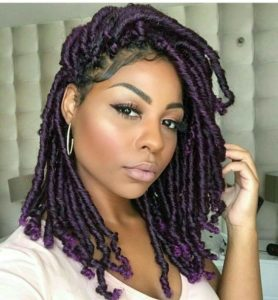 short purple faux locs