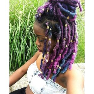 short rainbow faux locs