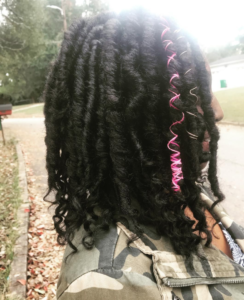 thick shoulder length goddess locs