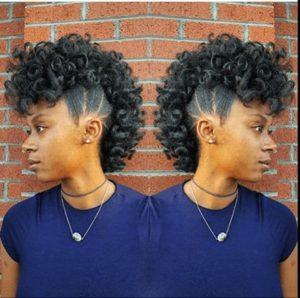Defined curls frohawk