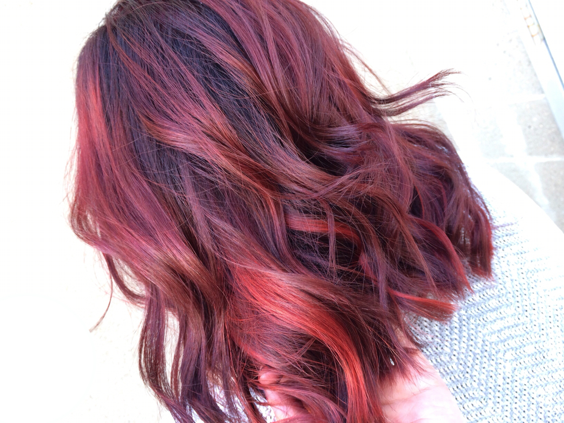 Dark Brown Hair With Bright Red Highlights