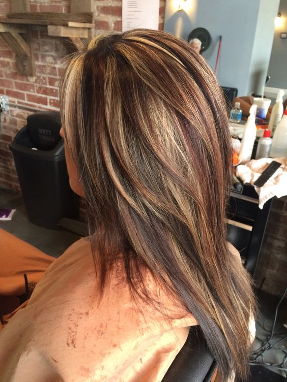 Red Highlights Ideas For Blonde Brown And Black Hair Part 24
