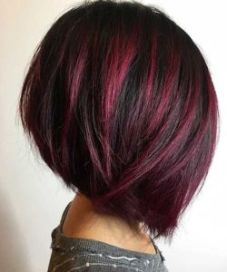 dark bob with red highlights