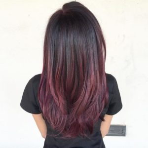 dark hair with red violet ombre
