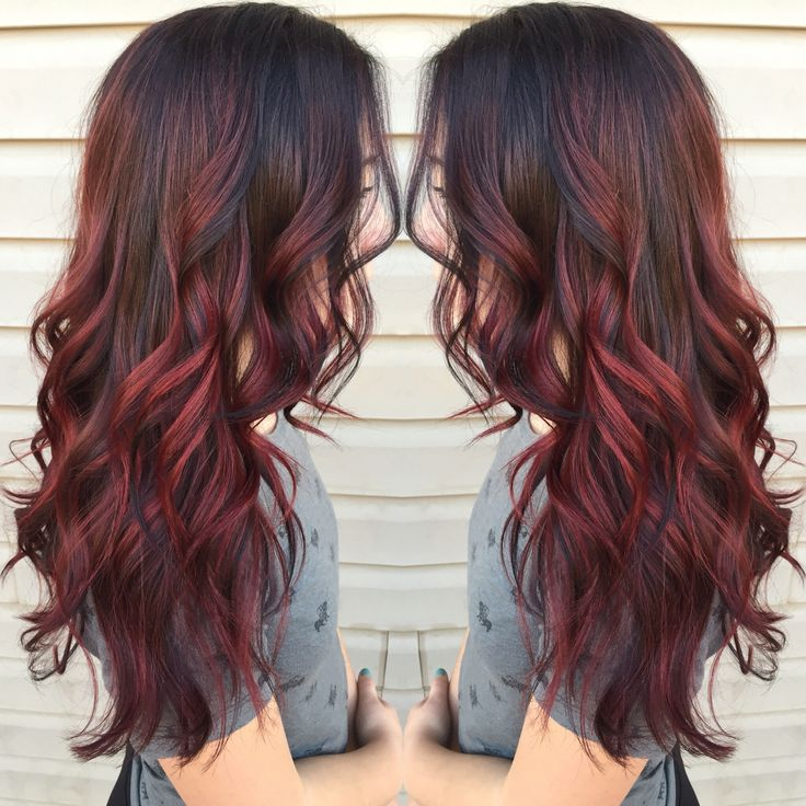 35dark Red Balayage Highlights