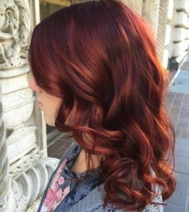 dark red with copper highlights