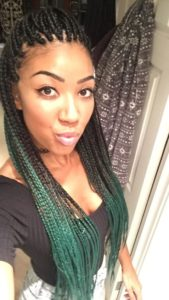 green ombre individual braids