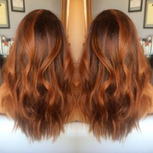 medium brown hair with ginger highlights