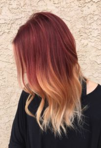 red with blonde ombre
