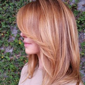 warm blonde and red higlights